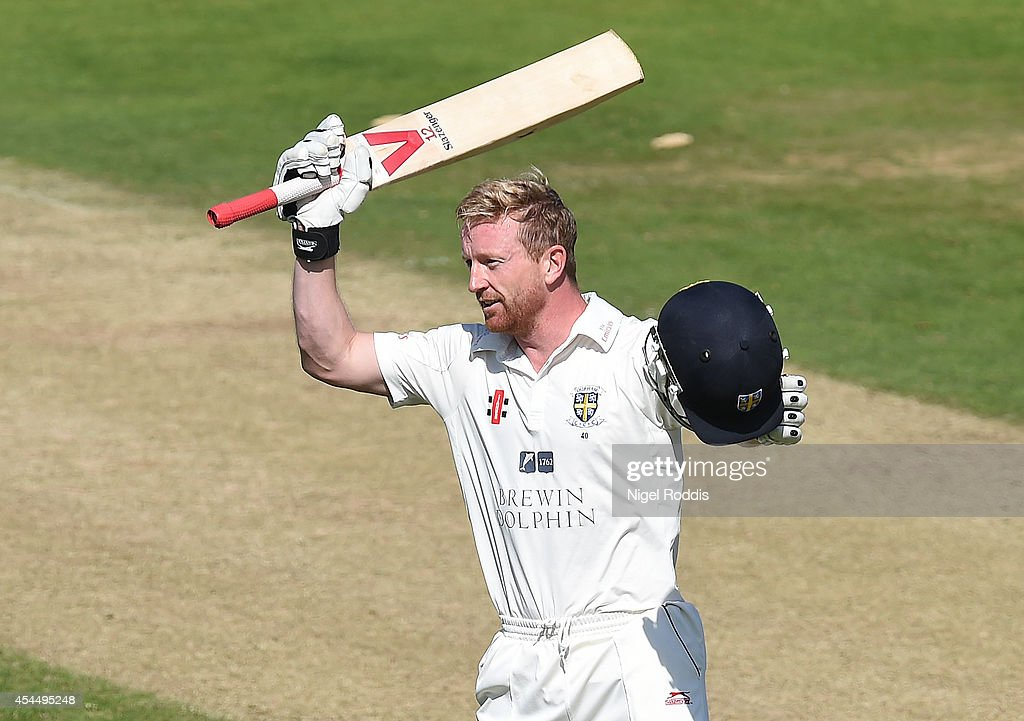 Paul Collingwood of Durham celebrates hitting a century during the LV County Championship match between Durham and Nottinghamshire at The Riverside...