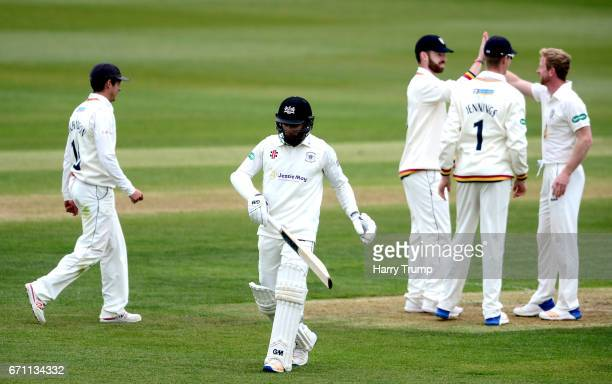 Paul Collingwood of Durham celebrates the wicket of Chris Dent of Gloucestershire during Day One of the Specsavers County Championship Division Two...