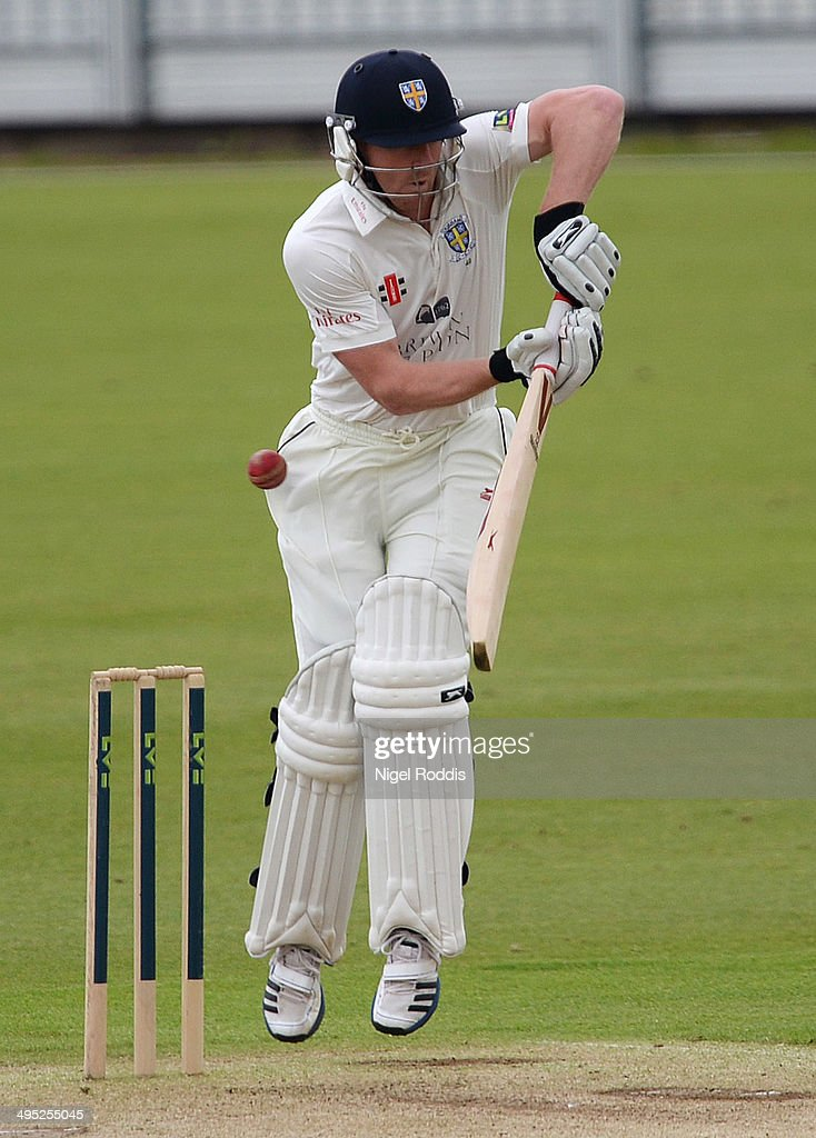 <a gi-track='captionPersonalityLinkClicked' href=/galleries/search?phrase=Paul+Collingwood&family=editorial&specificpeople=204191 ng-click='$event.stopPropagation()'>Paul Collingwood</a> of Durham plays a shot during The LV County Championship match between Durham and Middlesex at The Riverside on June 2, 2014 in Chester-le-Street, England.