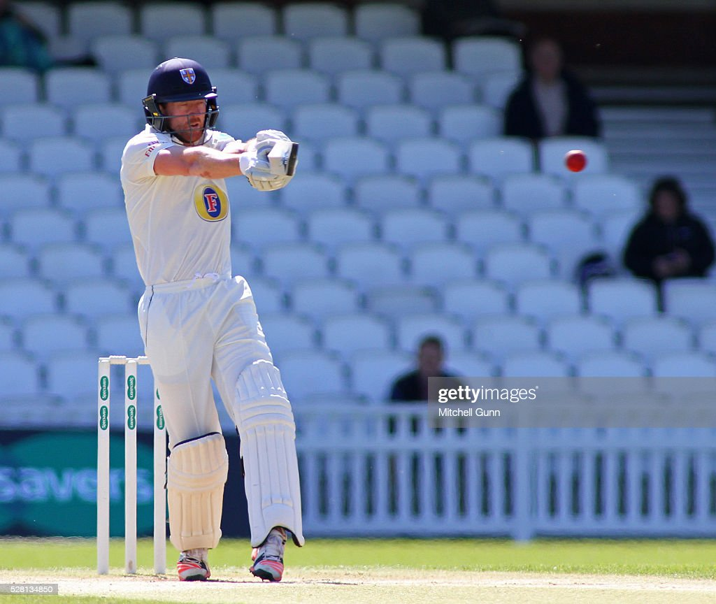 <a gi-track='captionPersonalityLinkClicked' href=/galleries/search?phrase=Paul+Collingwood&family=editorial&specificpeople=204191 ng-click='$event.stopPropagation()'>Paul Collingwood</a> of Durham plays a shot during the Specsavers County Championship Division One match between Surrey and Durham at the Kia Oval Cricket Ground, on May 04, 2016 in London, England.