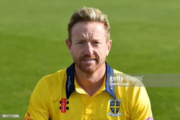 Paul Collingwood of Durham poses for a portrait during their press day at The Riverside on April 5 2017 in ChesterleStreet England