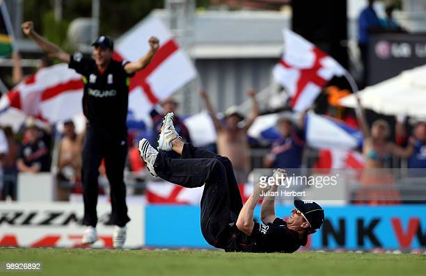 Paul Collingwood of England ends up on his back after taking the catch that dismissed AB de Villiers during the ICC World Twenty20 Super Eight Match...