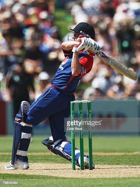 Paul Collingwood of England hits a six during the fourth National Bank series One Day International match between New Zealand and England at Mclean...