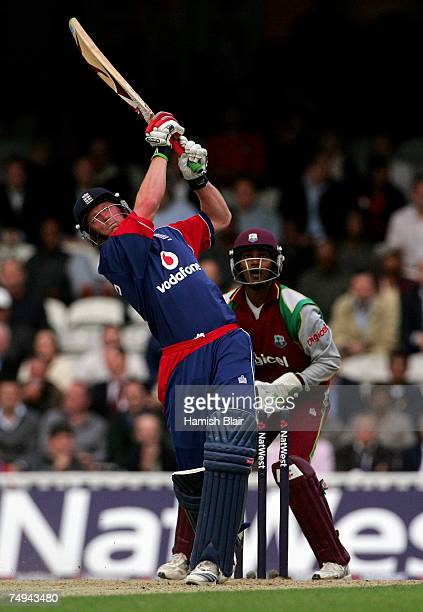 Paul Collingwood of England hits out during the NatWest International Twenty20 match between England and West Indies at the Brit Oval on June 28 2007...