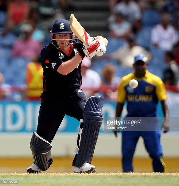 Paul Collingwood of England hits out during the semi final of the ICC World Twenty20 between England and Sri Lanka at the Beausjour Cricket Ground on...