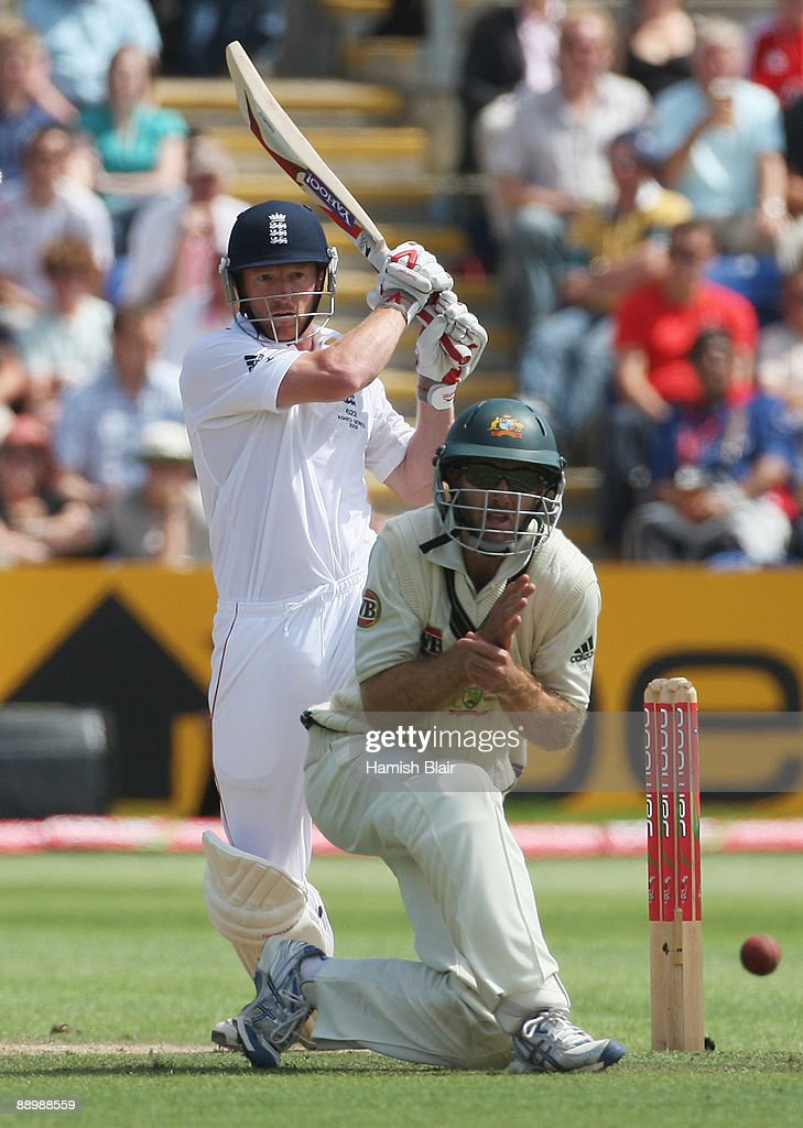 Paul Collingwood of England hits out past Simon Katich of Australia during day five of the npower 1st Ashes Test Match between England and Australia at the SWALEC Stadium on July 12, 2009 in Cardiff, Wales.
