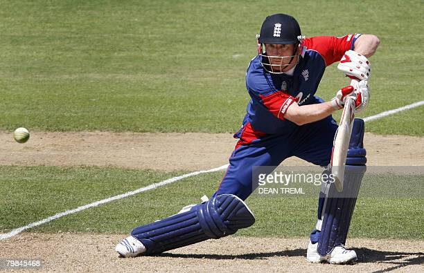 Paul Collingwood of England plays a shot during the fourth one day international match between New Zealand and England at McLean Park in Napier on...