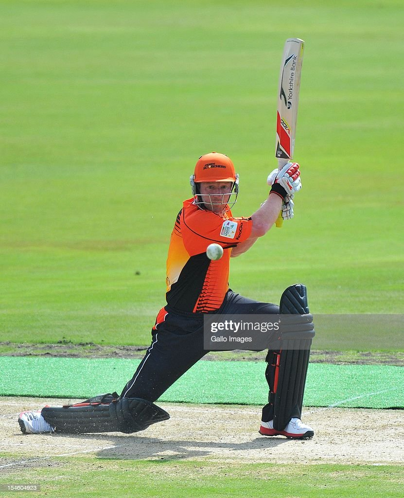 <a gi-track='captionPersonalityLinkClicked' href=/galleries/search?phrase=Paul+Collingwood&family=editorial&specificpeople=204191 ng-click='$event.stopPropagation()'>Paul Collingwood</a> of Perth bats during the Karbonn Smart CLT20 match between Auckland Aces and Perth Scorchers at SuperSport Park on October 23, 2012 in Pretoria, South Africa.