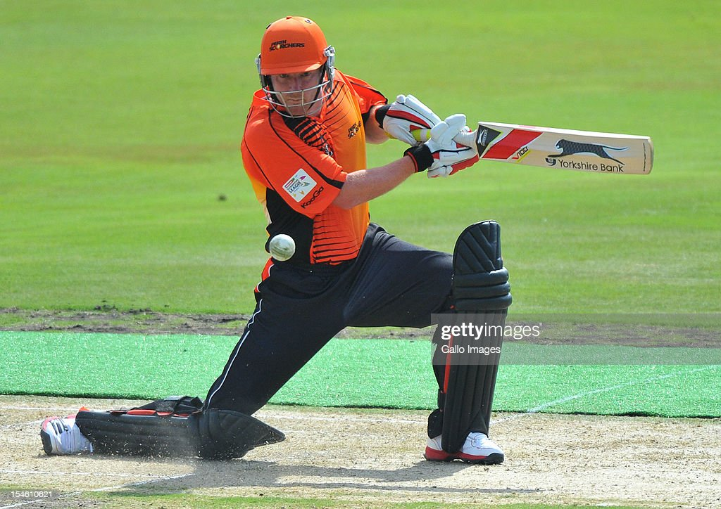 <a gi-track='captionPersonalityLinkClicked' href=/galleries/search?phrase=Paul+Collingwood&family=editorial&specificpeople=204191 ng-click='$event.stopPropagation()'>Paul Collingwood</a> of Perth in action during the Karbonn Smart CLT20 match between Auckland Aces and Perth Scorchers at SuperSport Park on October 23, 2012 in Pretoria, South Africa.
