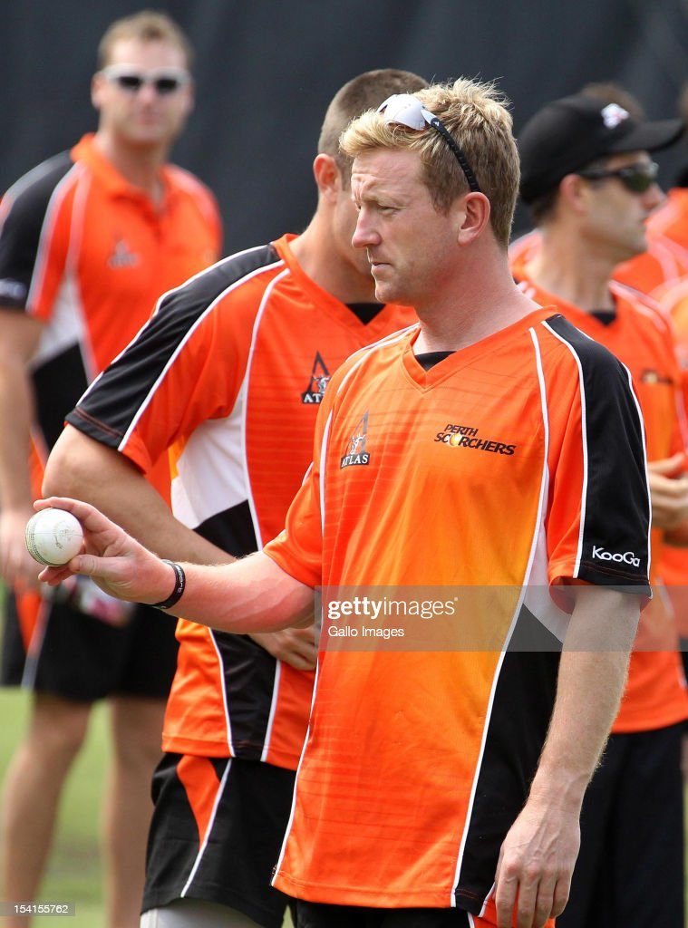 <a gi-track='captionPersonalityLinkClicked' href=/galleries/search?phrase=Paul+Collingwood&family=editorial&specificpeople=204191 ng-click='$event.stopPropagation()'>Paul Collingwood</a> of Perth Scorchers attends a training session during the Champions League Twenty20 at Sahara Park Kingsmead on October 15, 2012 in Durban, South Africa.