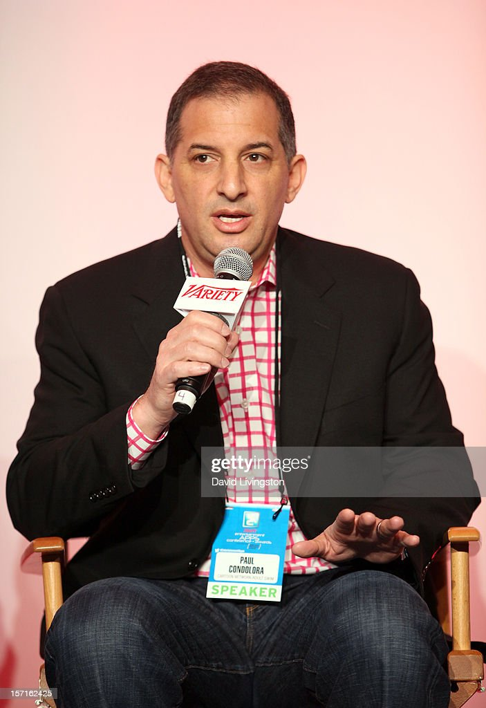 Paul Condolora, SVP Digital & Consumer Products, Cartoon Network/Adult Swim, speaks at the State of the Industry: Apps and The Entertainment Economy panel at Variety's Entertainment Apps Conference in Association with Application Developers Alliance at Sheraton Hotel on November 29, 2012 in Universal City, California.