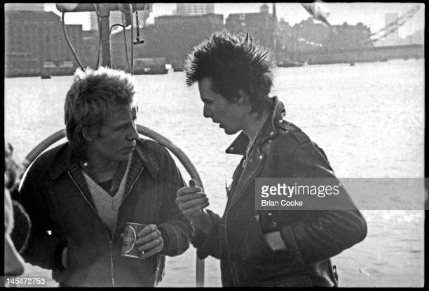 Paul Cook and Sid Vicious of English punk rock band the Sex Pistols aboard the Queen Elizabeth on the River Thames on June 7 1977 during their Silver...