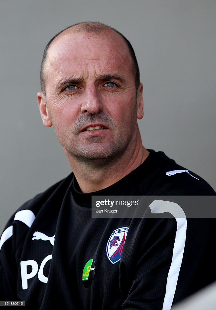 Paul Cook, Manager of Chesterfield looks on during the npower League Two match between Chesterfield and Barnet at Proact Stadium on October 27, 2012 in Chesterfield, England.