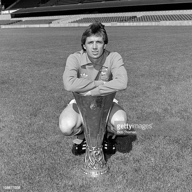 Paul Cooper of Ipswich Town with the UEFA Cup at Portman Road in Ipswich 30th July 1981