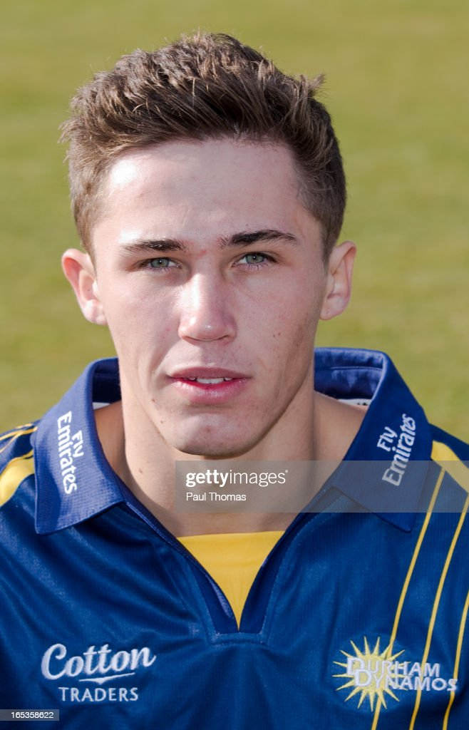 Paul Coughlin of Durham CCC wears the Yorkshire Bank 40 kit during a pre-season photocall at The Riverside on April 3, 2013 in Chester-le-Street, England.