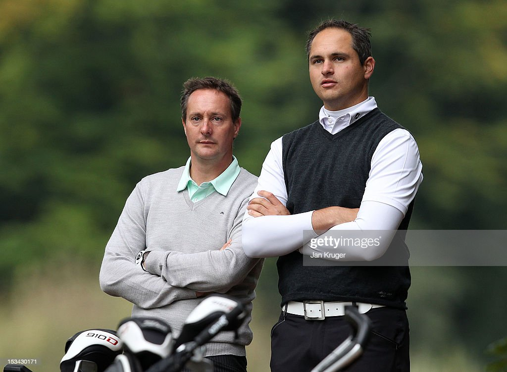 Paul Creamer of Foxhills Club & Resort and partner David Callaway of Milford GC looks on during the final round of the Skins PGA Fourball Championship at Forest Pines Hotel & Golf Club on October 5, 2012 in Broughton, England.