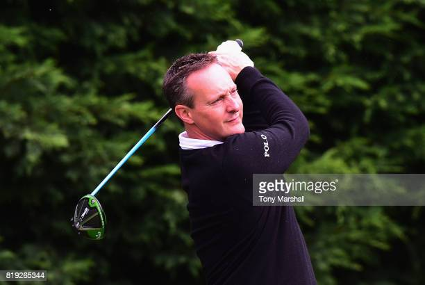 Paul Creamer of Foxhills Club Resort plays his first shot on the 1st tee during the PGA Lombard Trophy East Qualifier at Sandy Lodge Golf Club on...
