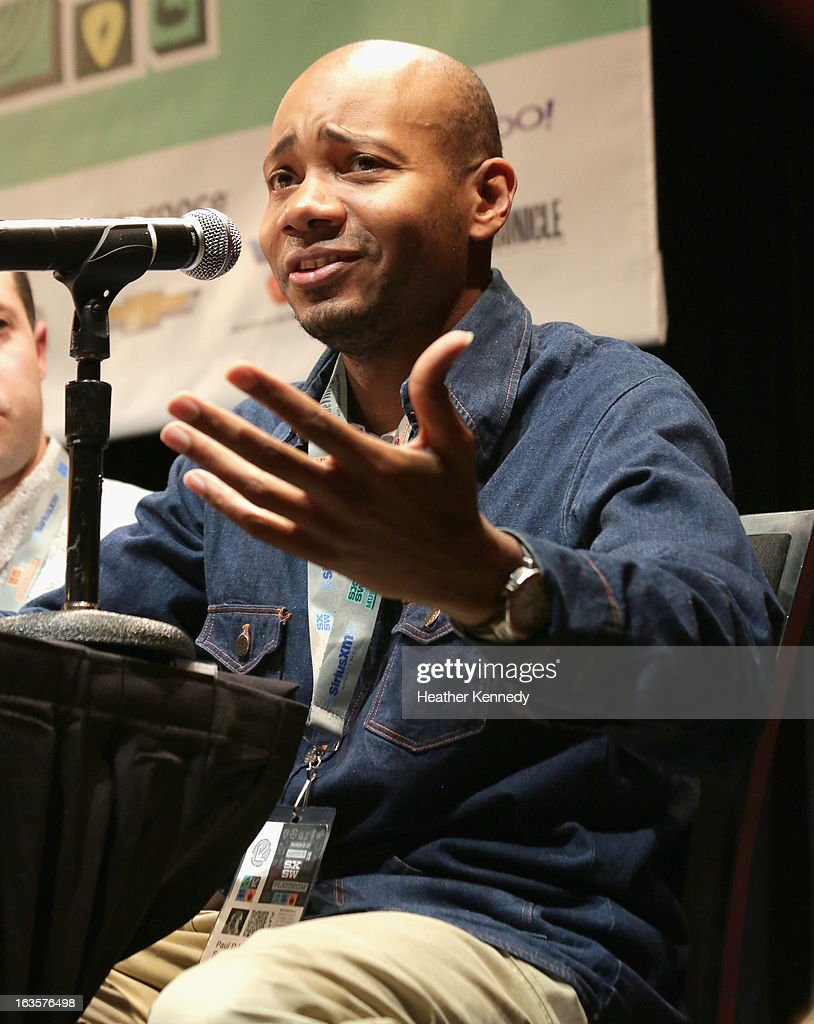 Paul D. Miller aka <a gi-track='captionPersonalityLinkClicked' href=/galleries/search?phrase=DJ+Spooky&family=editorial&specificpeople=682038 ng-click='$event.stopPropagation()'>DJ Spooky</a> speaks onstage Activists, Rockstars & Startups: Building Movements during the 2013 SXSW Music, Film + Interactive Festival at Austin Convention Center on March 12, 2013 in Austin, Texas.