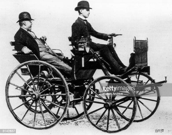 Paul Daimler driving his father Gottlieb in the first fourwheeled Daimler car which was built in Stuttgart