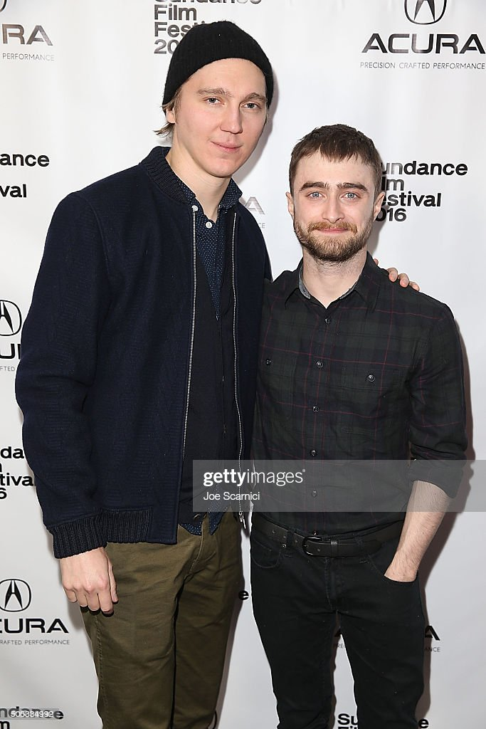 Paul Dano and Daniel Radcliffe arrive at 'Swiss Army Man' Premiere Party at The Acura Studio at Sundance Film Festival 2016 on January 22 2016 in...