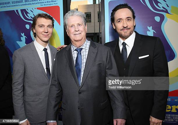 Paul Dano Brian Wilson and John Cusack attend the Roadside Attractions' Premiere Of 'Love Mercy' at the Samuel Goldwyn Theater on June 2 2015 in...