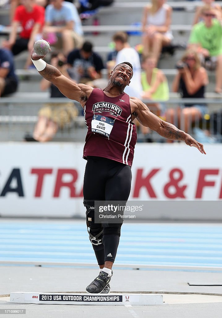 Paul Davis competes in the Men's Shot Put on day four of the 2013 USA Outdoor Track & Field Championships at Drake Stadium on June 23, 2013 in Des Moines, Iowa.