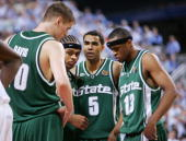 Paul Davis Shannon Brown Chris Hill and Maurice Ager of the Michigan State Spartans huddle near the end of the second half of the NCAA Men's Final...