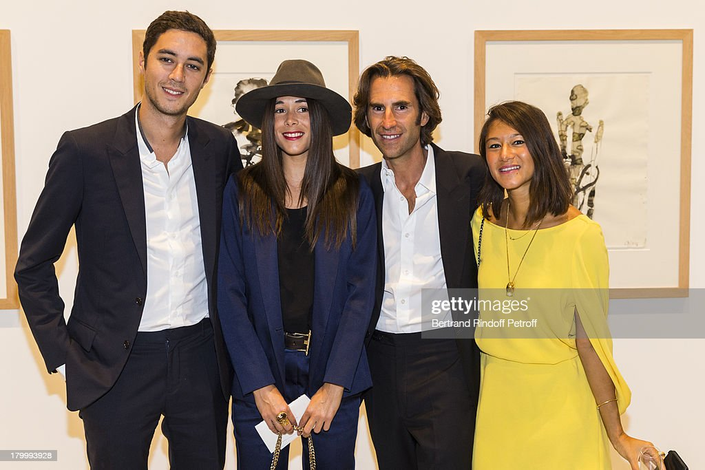 Paul de Froment, Marie Laffont, Pierre Pelegry and Laetitia Adam attend the Georg Baselitz exhibition preview and dinner at Thaddeus Ropac Gallery on September 7, 2013 in Pantin, east of Paris, France. The exhibition opens on September 8.