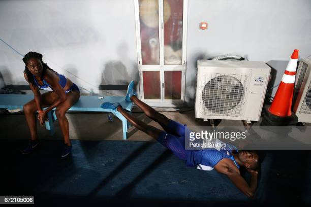 Paul Dedewo of the USA lays by a fan after the Mixed 4x400 Metres Relay Final during the IAAF/BTC World Relays Bahamas 2017 at Thomas Robinson...