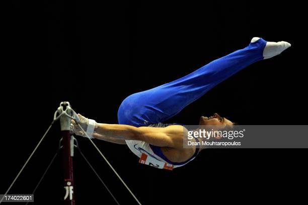 Paul Degouy of France competes on the Horizontal bar in the Boys Gymnastics during Day 5 of the European Youth Olympic Festival held at the De...