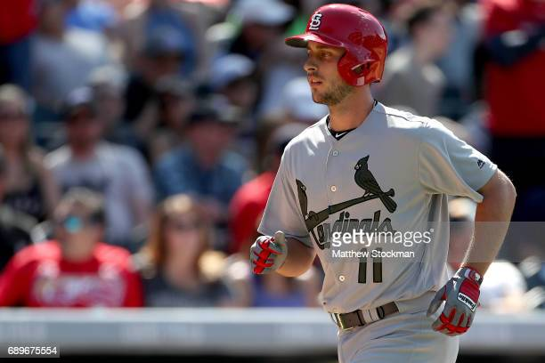 Paul DeJong of the St Louis Cardinals circles the bases after hiting a home run in the ninth inning against the Colorado Rockies at Coors Field on...