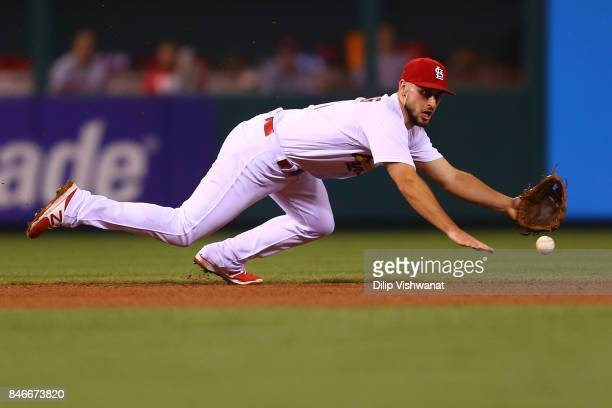 Paul DeJong of the St Louis Cardinals fields a ground ball against the Cincinnati Reds in the fifth inning at Busch Stadium on September 13 2017 in...