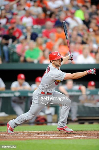 Paul DeJong of the St Louis Cardinals hits a single in the third inning against the Baltimore Orioles at Oriole Park at Camden Yards on June 16 2017...
