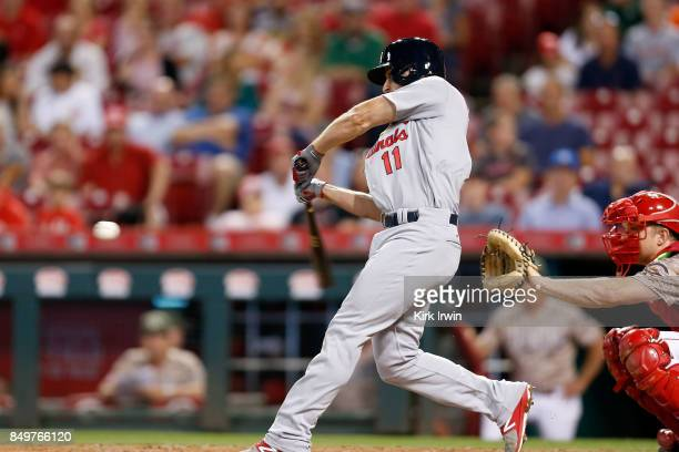 Paul DeJong of the St Louis Cardinals hits a solo home run during the fourth inning of the game against the Cincinnati Reds at Great American Ball...
