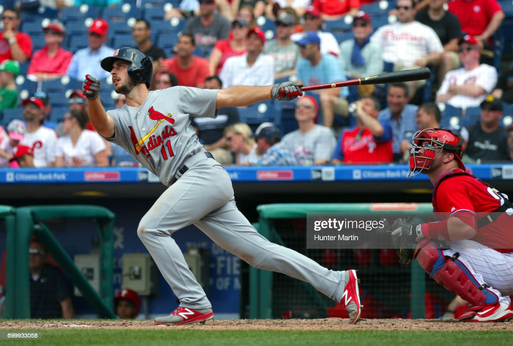 Paul DeJong #11 of the St. Louis Cardinals hits a solo home run in the eighth inning during a game against the Philadelphia Phillies at Citizens Bank Park on June 22, 2017 in Philadelphia, Pennsylvania. The Phillies won 5-1.