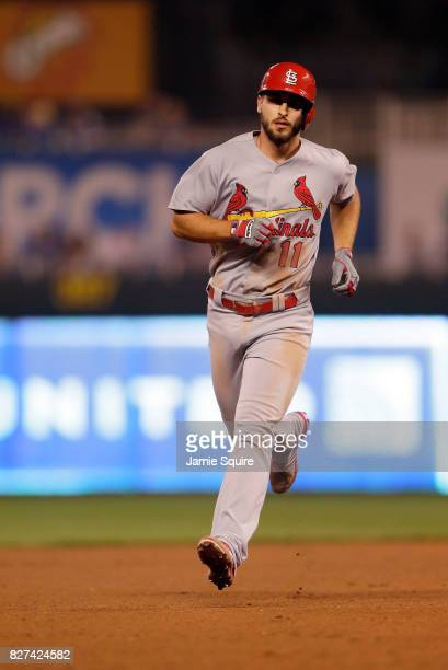 Paul DeJong of the St Louis Cardinals rounds the bases after hitting a tworun home run during the 9th inning of the game against the Kansas City...