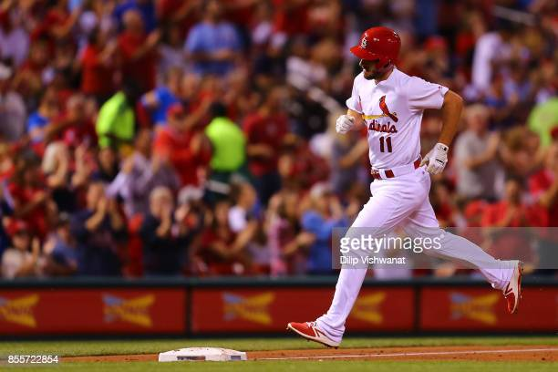 Paul DeJong of the St Louis Cardinals rounds third base after hitting a home run against the Milwaukee Brewers in the fourth inning at Busch Stadium...