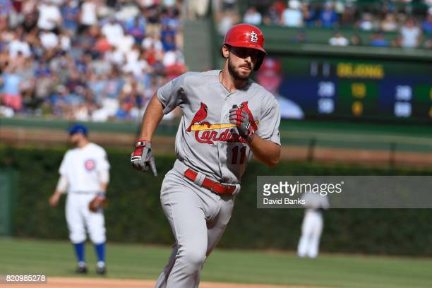 Paul DeJong of the St Louis Cardinals runs the bases after hitting a home run against the Chicago Cubs during the eighth inning on July 22 2017 at...