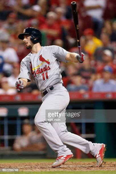 Paul DeJong of the St Louis Cardinals takes an at bat during the game agains the Cincinnati Reds at Great American Ball Park on September 19 2017 in...