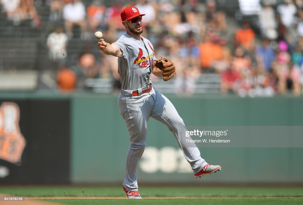 Paul DeJong #11 of the St. Louis Cardinals throws off balance to first base throwing out Gorkys Hernandez #66 of the San Francisco Giants in the bottom of the fifth inning at AT&T Park on September 2, 2017 in San Francisco, California.