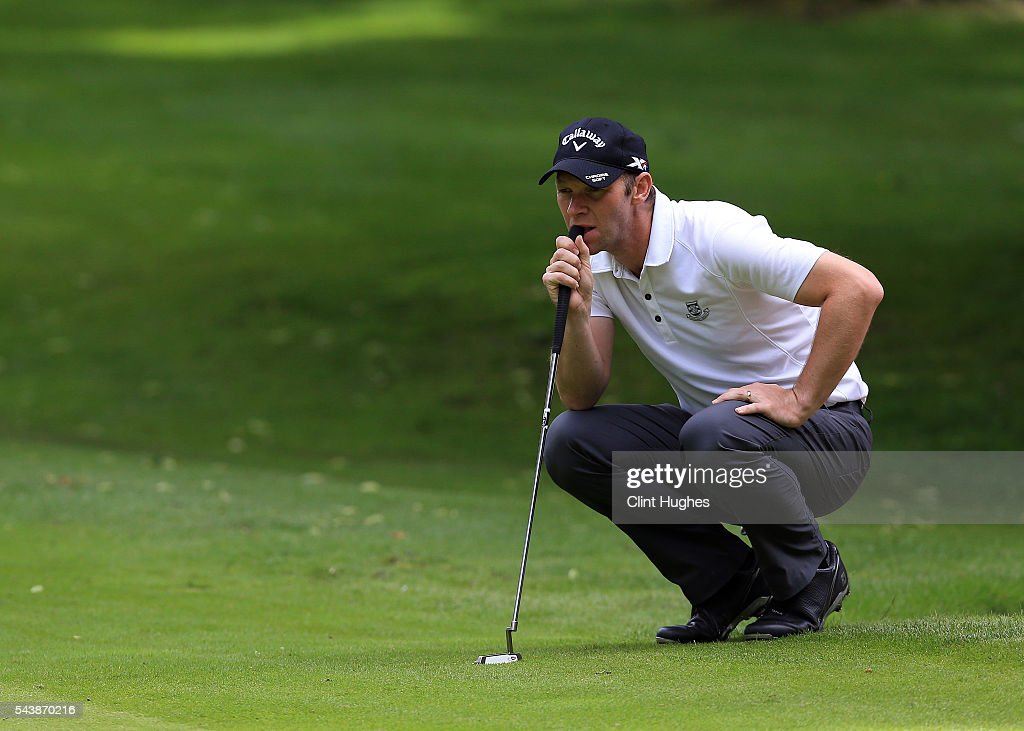 Paul Dennis of Dunham Forest Golf and Country Club lines up a putt during the PGA National Pro-Am North Qualifier at Dunham Forest Golf Club on June 30, 2016 in Altrincham, England