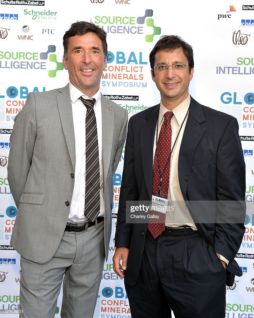 Paul Dewar, MP, Parliament of Canada (L) and Brad Brooks-Rubin, Holland & Hart attend the Global Conflict Minerals Symposium Dinner Presented by Source Intelligence at Omni Los Angeles Hotel on August 21, 2013 in Los Angeles, California.