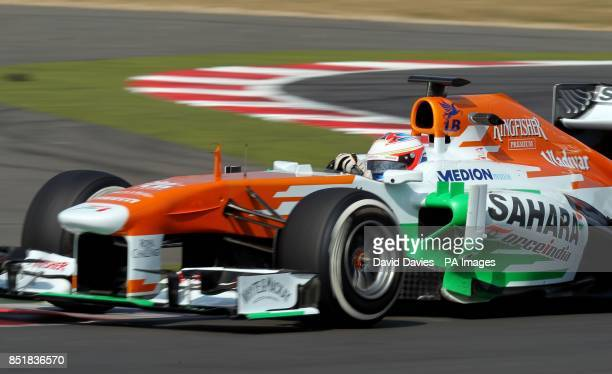 Paul di Resta in the Force India during day two of the Formula One young driver tests at Silverstone Northampton