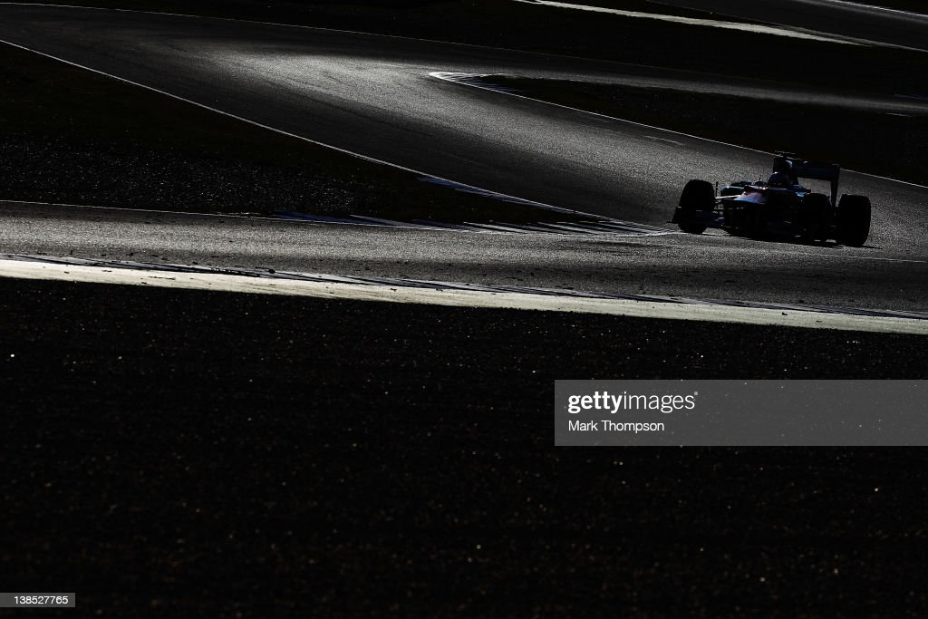 Paul di Resta of Great Britain and Force India drives during day two of Formula One winter testing at the Circuito de Jerez on February 8, 2012 in Jerez de la Frontera, Spain.