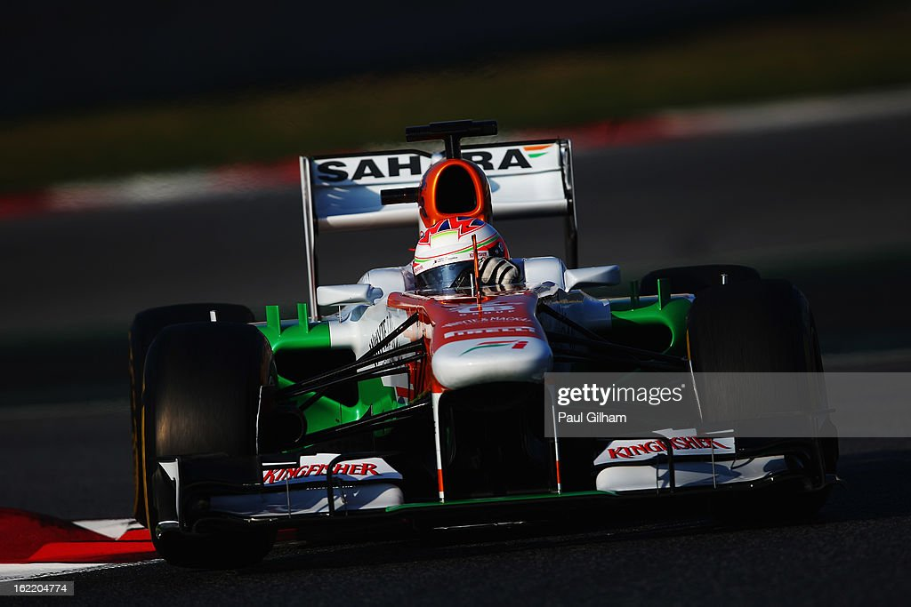 Paul di Resta of Great Britain and Force India drives during day two of Formula One winter test at the Circuit de Catalunya on February 20, 2013 in Montmelo, Spain.