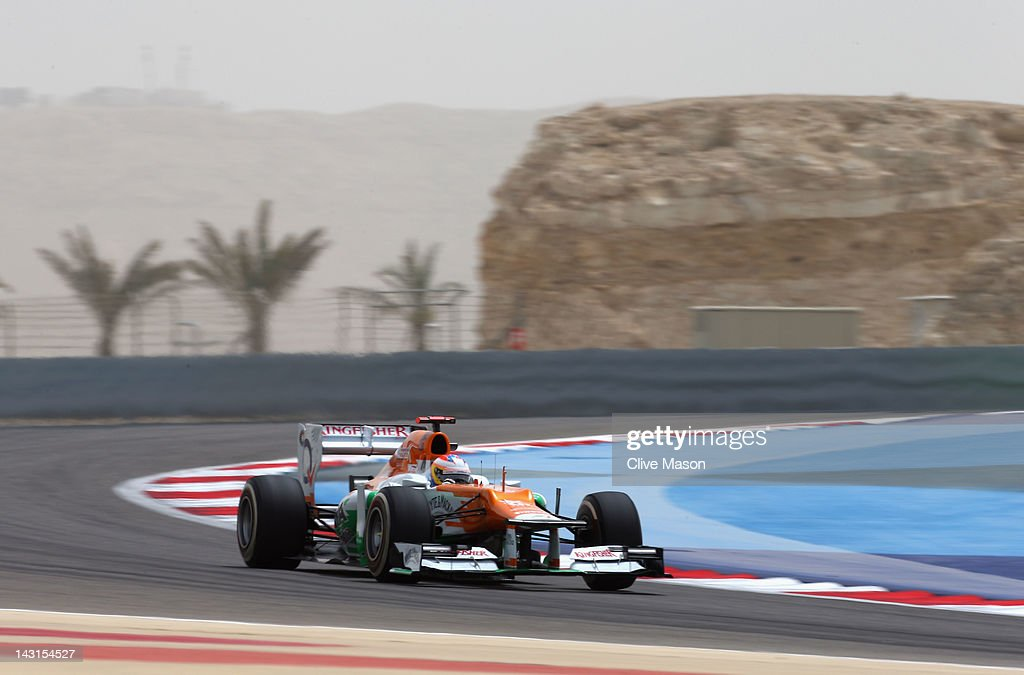 Paul di Resta of Great Britain and Force India drives during practice for the Bahrain Formula One Grand Prix at the Bahrain International Circuit on April 20, 2012 in Sakhir, Bahrain.