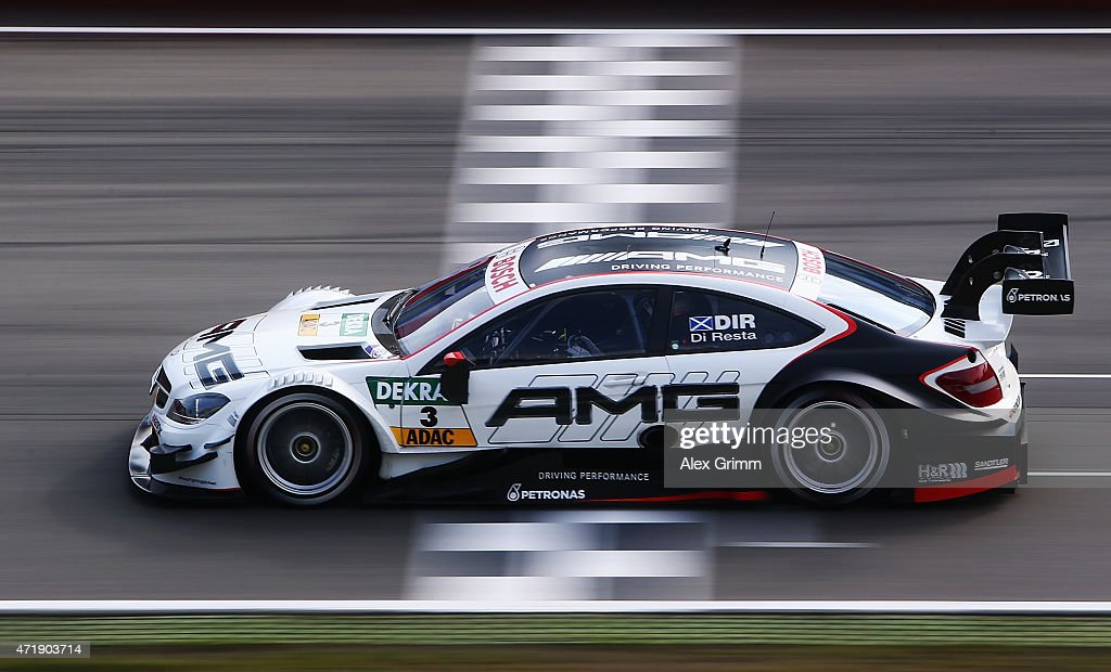 Paul di Resta of Great Britain and Mercedes HWA drives during a training session prior to the qualifying for the first round of the DTM 2015 German Touring Car Championship at Hockenheimring on May 2, 2015 in Hockenheim, Germany.