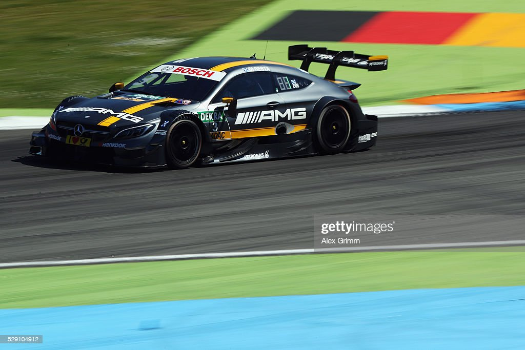 Paul di Resta of Great Britain and Mercedes team HWA drives during race 2 of the DTM German Touring Car Hockenheim at Hockenheimring on May 08, 2016 in Hockenheim, Baden-Wuerttemberg.