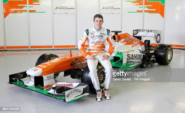 Paul Di Resta poses with the new Force India VJM06 during the Force India Launch at Silverstone Circuit Northampton