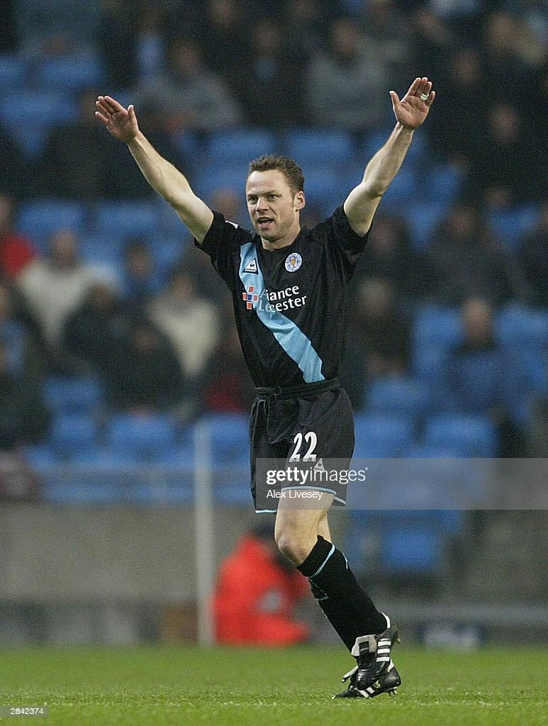 Paul Dickov of Leicester City celebrates scoring his goal during the FA Cup third round match between Manchester City and Leicester City at City of Manchester Stadium on January 3, 2004 in Manchester, England.